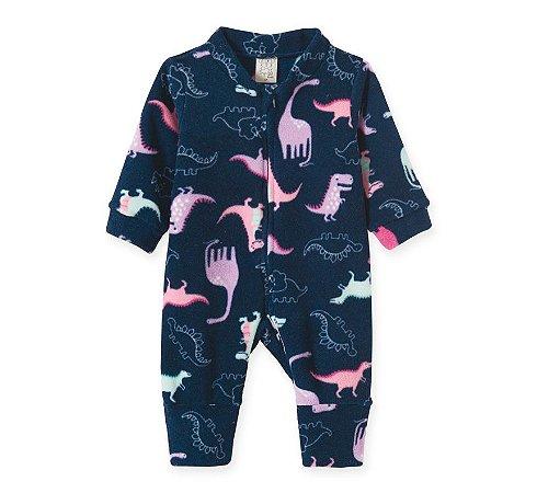 Macacão Infantil Soft com Zíper Dinossauro Rosa Pingo Lelê 9054