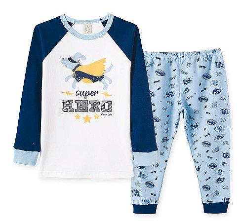 Pijama em Suedine Longo Infantil Heróis Pingo Lelê 86200