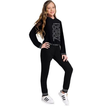 Conjunto Teen Feminino Casaco Cropped + Calça Amora 51497