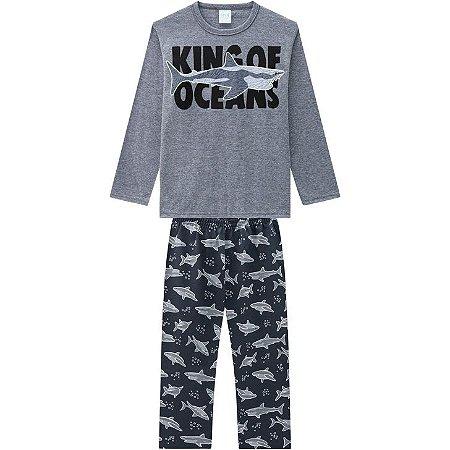 """Pijama Infantil Blusa Longa Mescla + Calça """" Tubarão"""" Kyly 207553"""