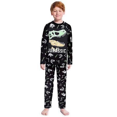Pijama Infantil Blusa Longa Dino + Calça Preta - Anti Mosquito Kyly 207554