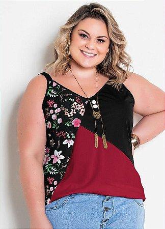 Blusa Feminina Plus Size Alcinhas Recortes Várias Cores