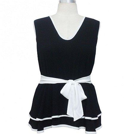 Blusa Plus Size Peplum Decote V Preta ou Off White