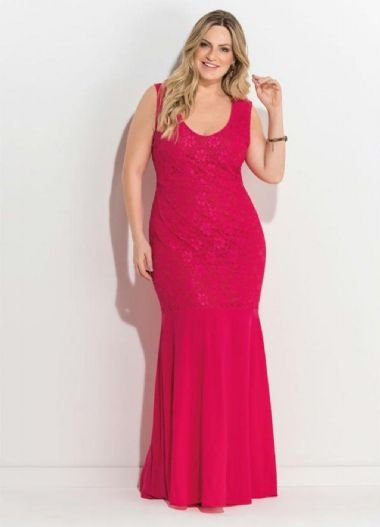 Vestido Longo Plus Size Festa Renda Rosa