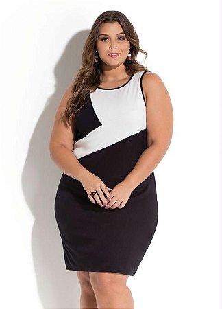 Vestido Plus Size Recorte  P&B