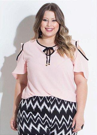 Blusa Plus Size Ombro Vazado Rosa
