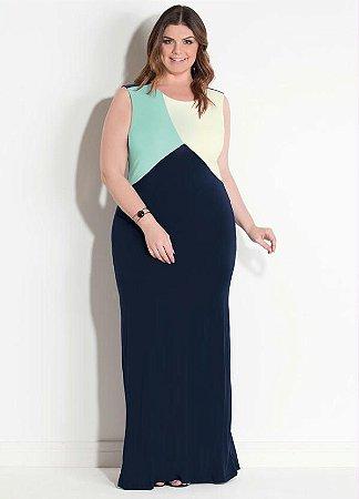Vestido Longo Plus Size Marinho Tricolor