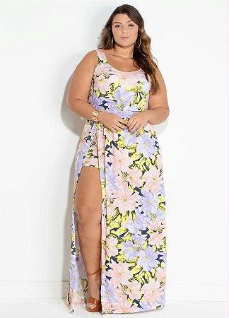 Vestido Plus Size Longo Com Short E Fenda Sensual