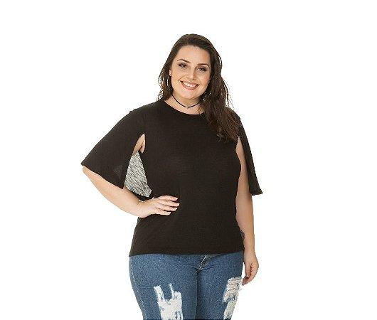 Blusa Plus Size  Poliviscose Flame Preta