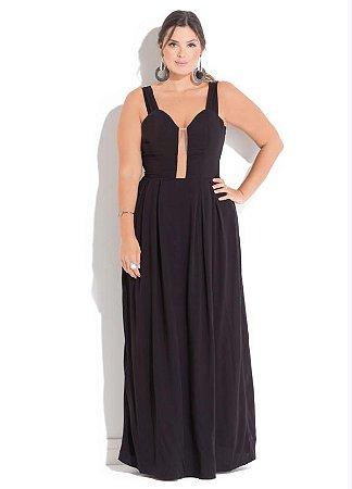 c6ad3d49185a Vestido Festa Plus Size Longo Com Decote Tule - Moda Plus Size ...