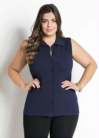 Camisa Plus Size Sem Mangas Marinho