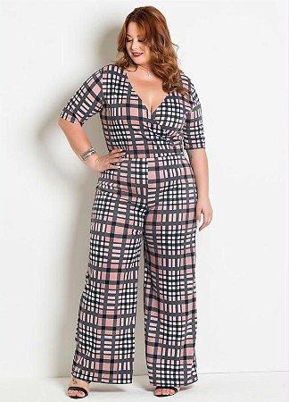 3519e7e712 Macacão Plus Size Pantalona Xadrez - Moda Plus Size