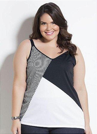 Blusa Plus Size De Alcinhas Listrada Bicolor Preta