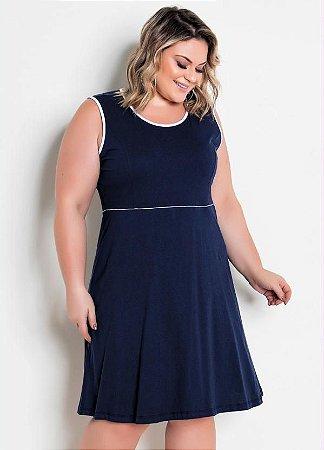 Vestido Plus Size Sem Mangas Em Algodão Marinho