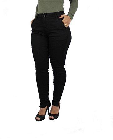 Calça Sarja Feminina Plus Size  Cintura Alta Preta