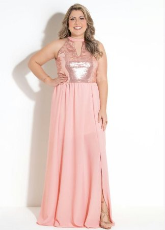 Vestido Longo Festa Plus Size Rosa e Paetê
