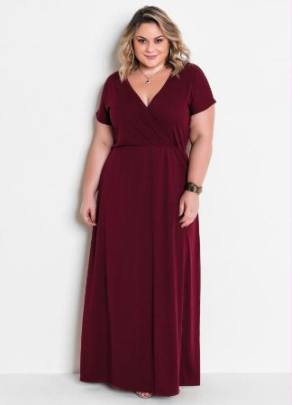 Vestido Longo Plus Size Aciturado  Preto ou Bordô