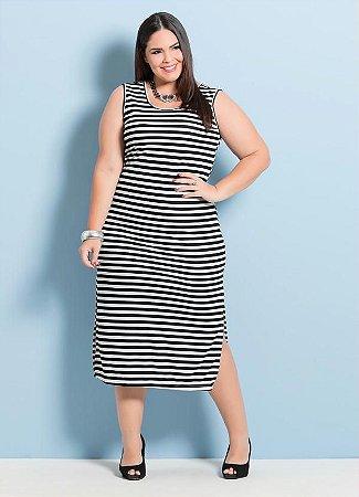Vestido Feminino Plus Size Longuete Listrado
