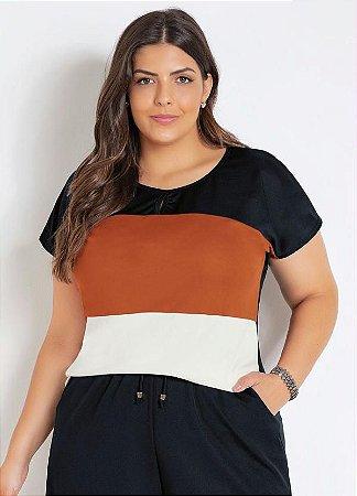 Blusa Feminina Plus Size Manga Curta Tricolor
