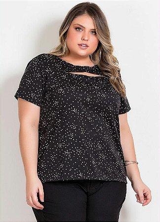 Blusa Feminina Malha Plus Size Estampa Poá e Decote Vazado
