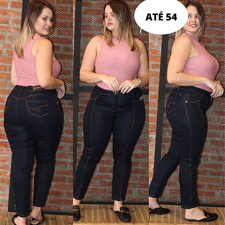 Calça Jeans Plus Size Cigarrete com Elastano e Cintura Alta