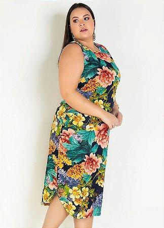Vestido Plus Size Midi Sem Mangas em Malha Floral
