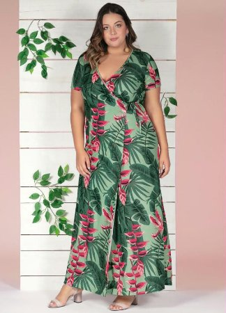 Vestido Longo Plus Size Transpassado Estampa Folhagem