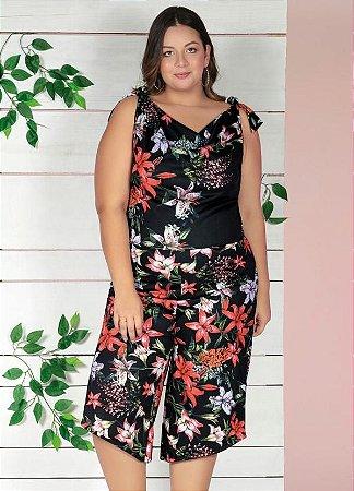 Macacão Pantacourt Plus Size Floral Acinturado em Poliéster