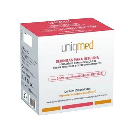 Seringas para Toxina e Insulina de 0,5ml (100 unidades) - 5mm x 32g - Uniqmed