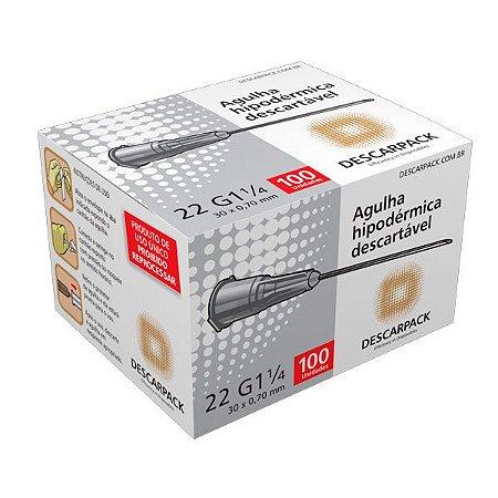 Agulha Hipodérmica Descartável 22G 1 1/4 30x0,70mm com 100un - Descarpack