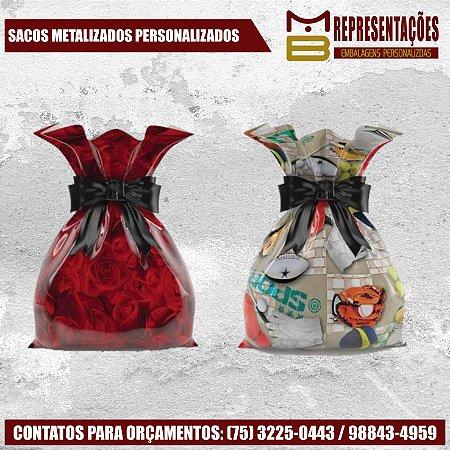 SACOS DE PRESENTE METALIZADO PERSONALIZADOS - MB EMBALAGENS PERSONALIZADAS