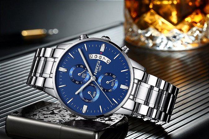 9e84fb246ff Relógio Masculino Marca NIBOSI Relógios de Pulso de Quartzo Resistente À PROVA  D  ÁGUA.