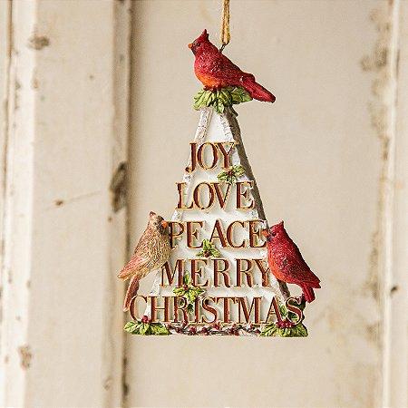 Pingente de Árvore Cardeal e Palavras de Natal