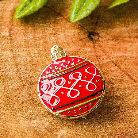 Botton Bola de Natal Vermelho Arabesco