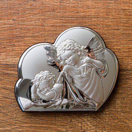 Quadro Italiano de Prata do Anjinho da Guarda - Meia Núvem