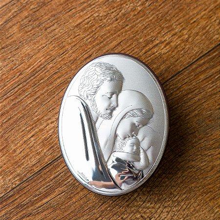 Quadro Italiano Oval com a Sagrada Família em Prata