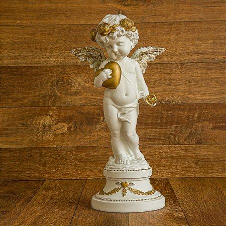 Anjo Floret Amor e Flor Gold