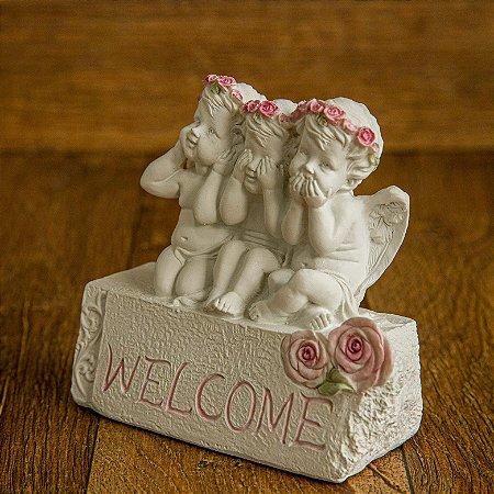 WELCOME! Trio de Anjos Floret Rose - Símbolo da Ética e Sabedoria