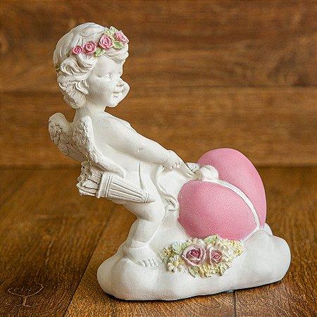 Anjo Cupido com flores e Coração Rosa