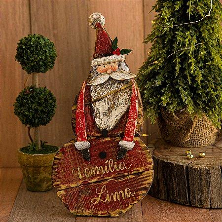 Enfeite Papai Noel em Madeira (Personalizado)