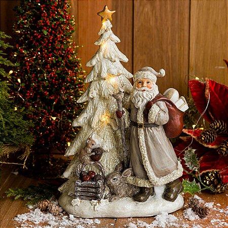 Árvore de Natal com Papai Noel e Bichinhos