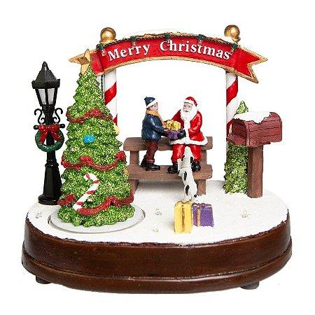 Vila de Natal Papai Noel Entregando Presentes