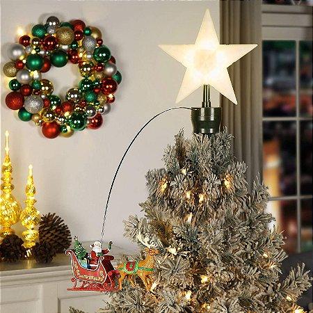 Ponteira de Árvore de Natal Papai Noel com Trenó e Rena