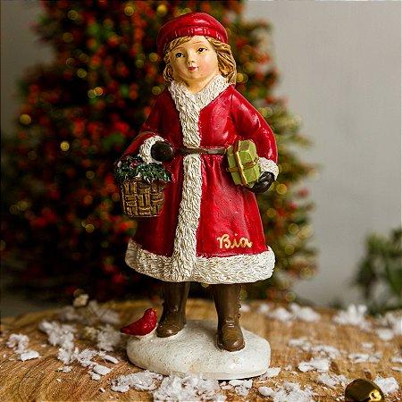Menina com Presente de Natal - PERSONALIZÁVEL