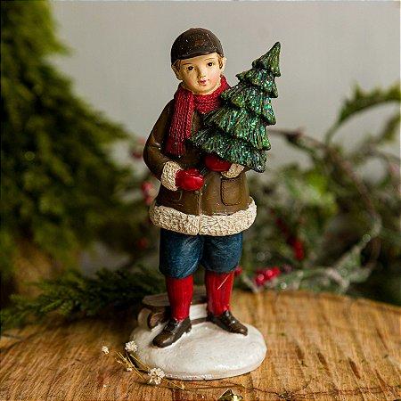 Menino com Árvore de Natal - PERSONALIZÁVEL