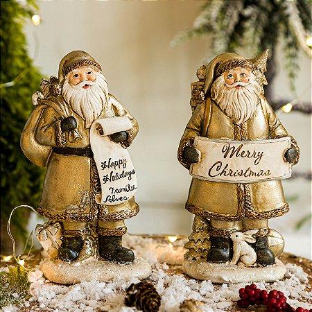 Dupla de Papai Noel com Presentes e Bichinhos