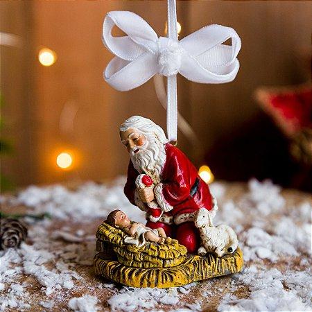 Enfeite Papai Noel com Menino Jesus