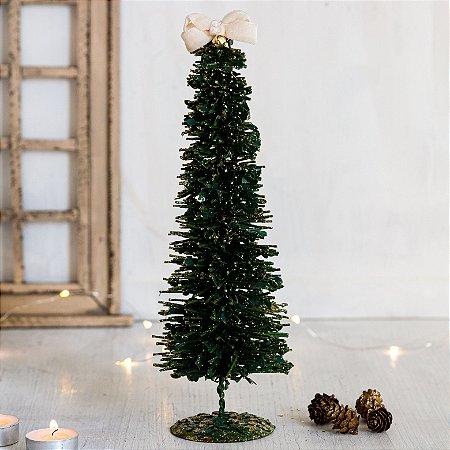 Mini Árvore Decorativa Verde com Laço Branco