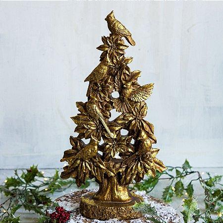 Árvore de Natal Decorativa com Pássaros Gold