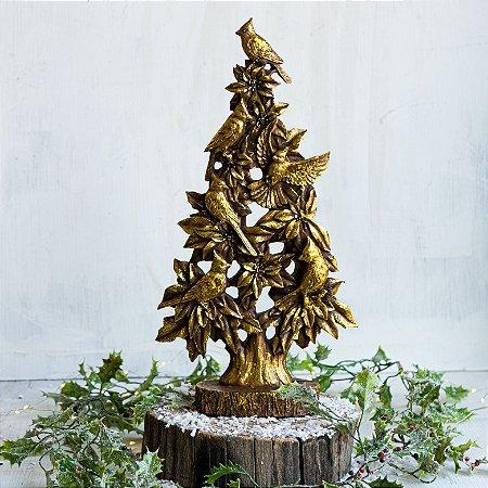 Árvore Decorativa com Pássaros Gold